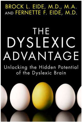 Book cover of The Dyslexic Advantage by Brock and Fernette Eide. Image of eggs, all white with one yellow in the center.
